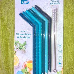 6 silicone straws and brush set
